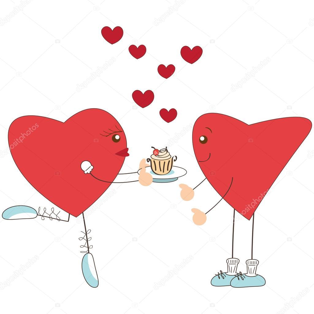 可愛いかわいい女の子心少年にケーキを与える — ストックベクター