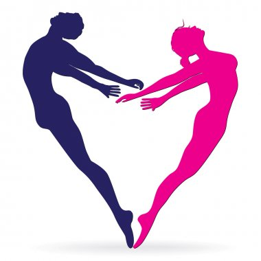 Man and woman body silhouette in heart.