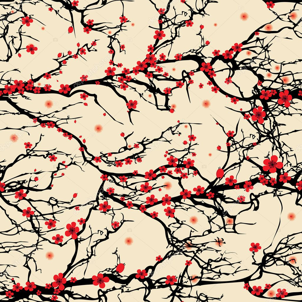 Flower seamless background pattern tree japanese cherry blossom. Realistic sakura vector nature illustration.