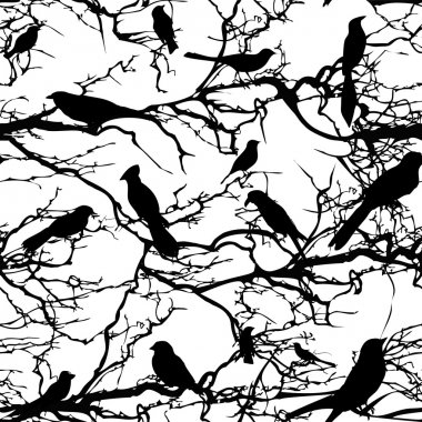 Seamless background pattern tree with birds. Vector nature illustration.