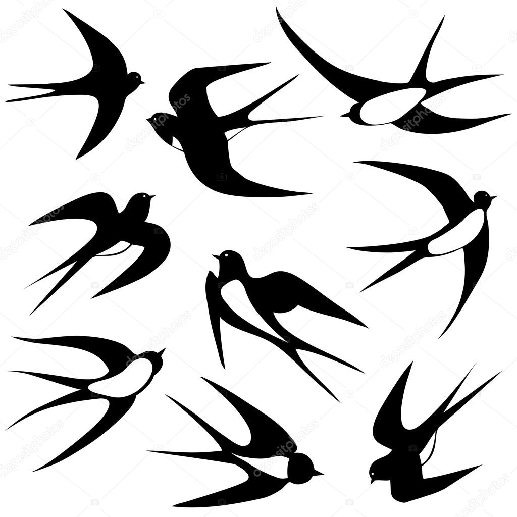 Set of sketches of flying swallows stock vector illustration - Bird Swallow Set Stock Vector