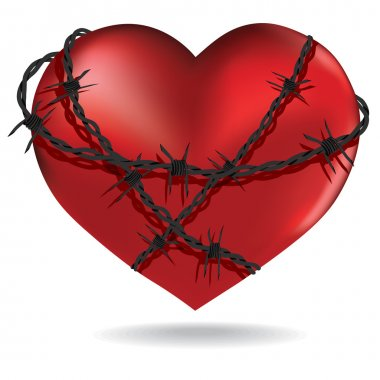 Barbed heart. Vector.
