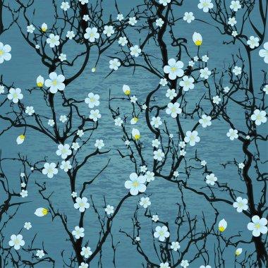 Seamless tree pattern. Japanese cherry blossom