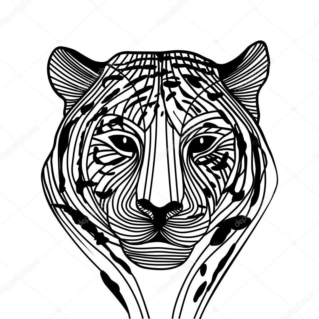 Tiger head silhouette, Vector