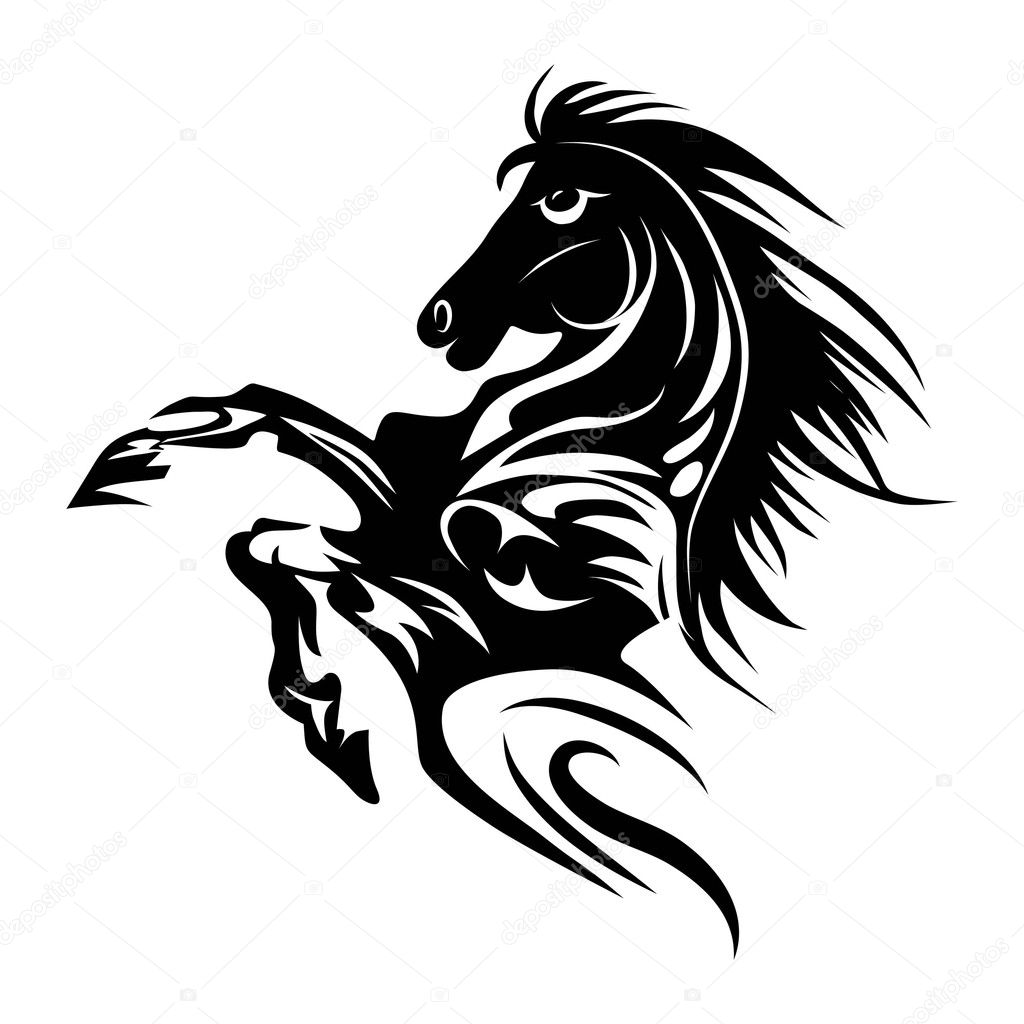 Year Of The Horse Tattoo Horse Tattoo Symbol For Design Isolated On White Emblem Or Logo Template Stock Vector C Svetap 29300817