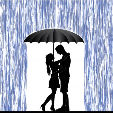 Kissing couple. Man and woman in love. Valentine day background. Young people under umbrella. Isolated on white. clip art vector