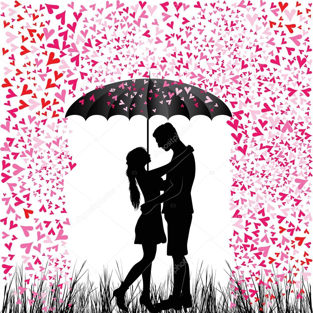 Kissing couple heart rain. Man and woman in love. Valentine day background. Young people under umbrella. Isolated on white. clipart vector
