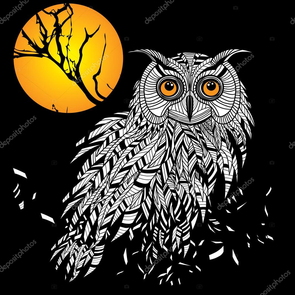 Głowy Ptak Sowa Symbol Halloween Maskotka Lub Godło Design