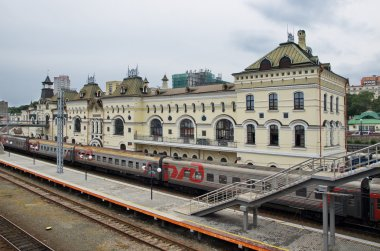The train at the platform station, Vladivostok