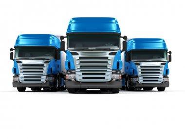 Heavy blue trucks isolated on white background