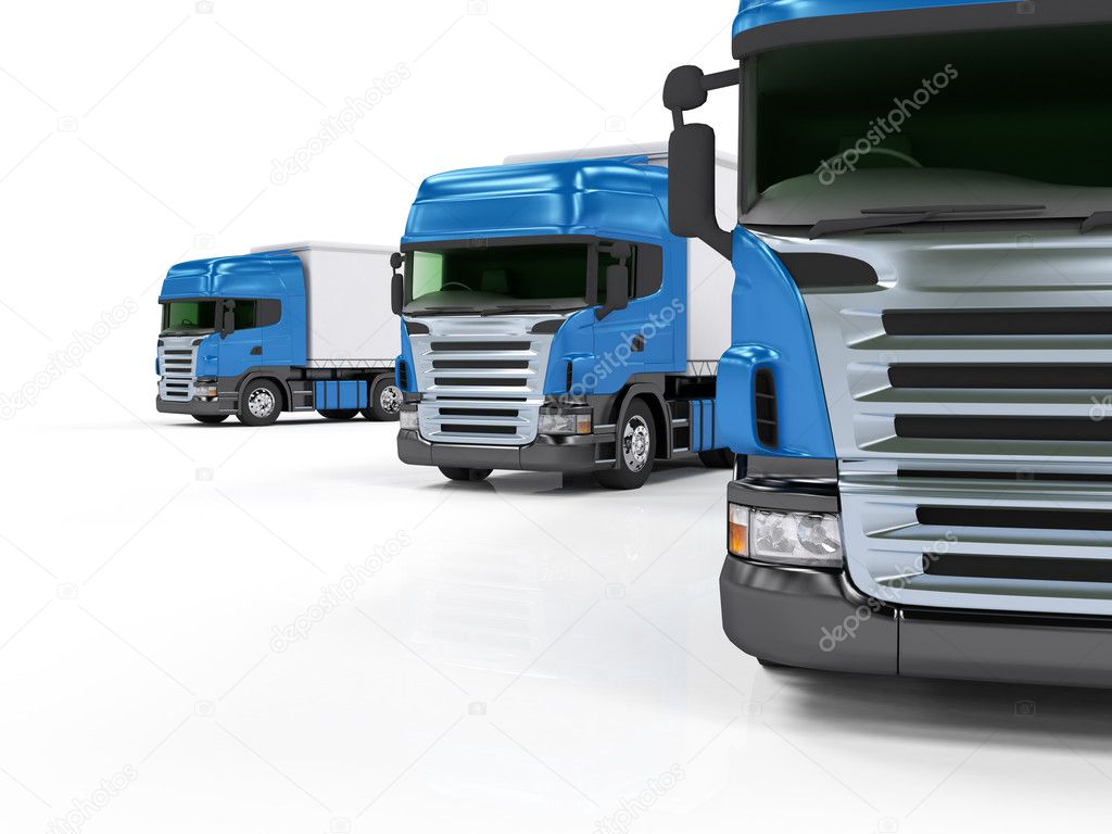 Heavy blue trucks presentation isolated on white background