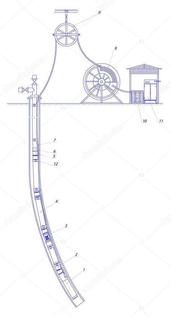 Schematic of an oil well — Stock Vector © cherezoff #13120128 on