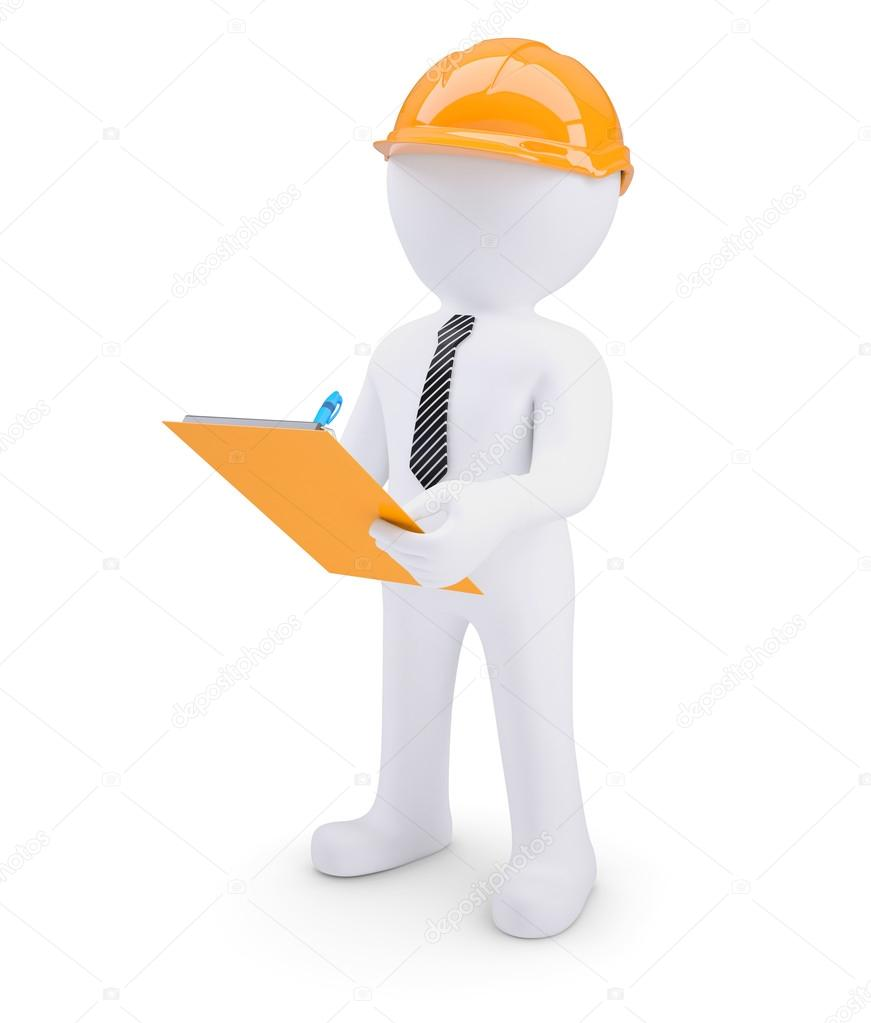 3d human in helmet with a notebook