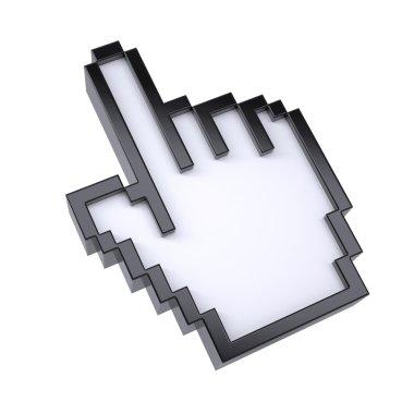 Pixel cursor black clean icon hand