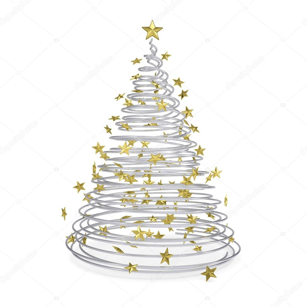 rbol de Navidad 3D de espirales metlicas y estrellas de oro