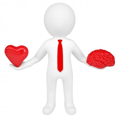 3d man holding a heart and a brain