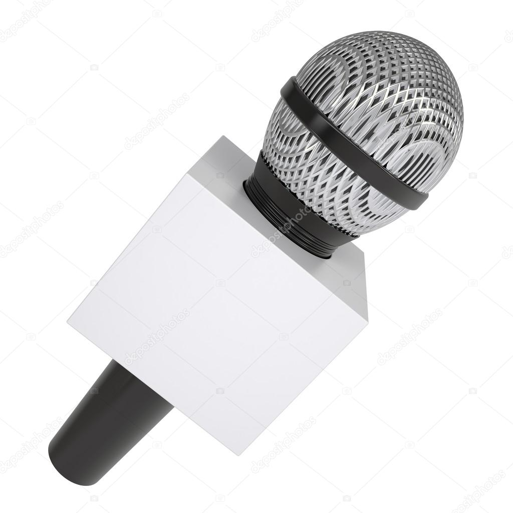 Television microphone with blank advertising cube