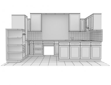Kitchen rendered by lines