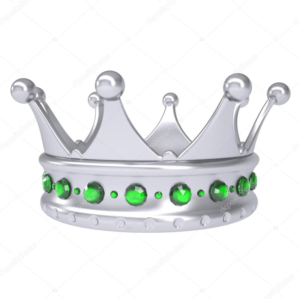 Silver crown decorated with green sapphires — Stock Photo