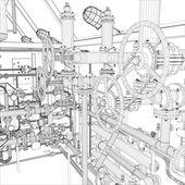 Průmyslové zařízení. kostry vektor