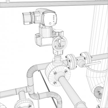 Industrial equipment. Wire-frame vector