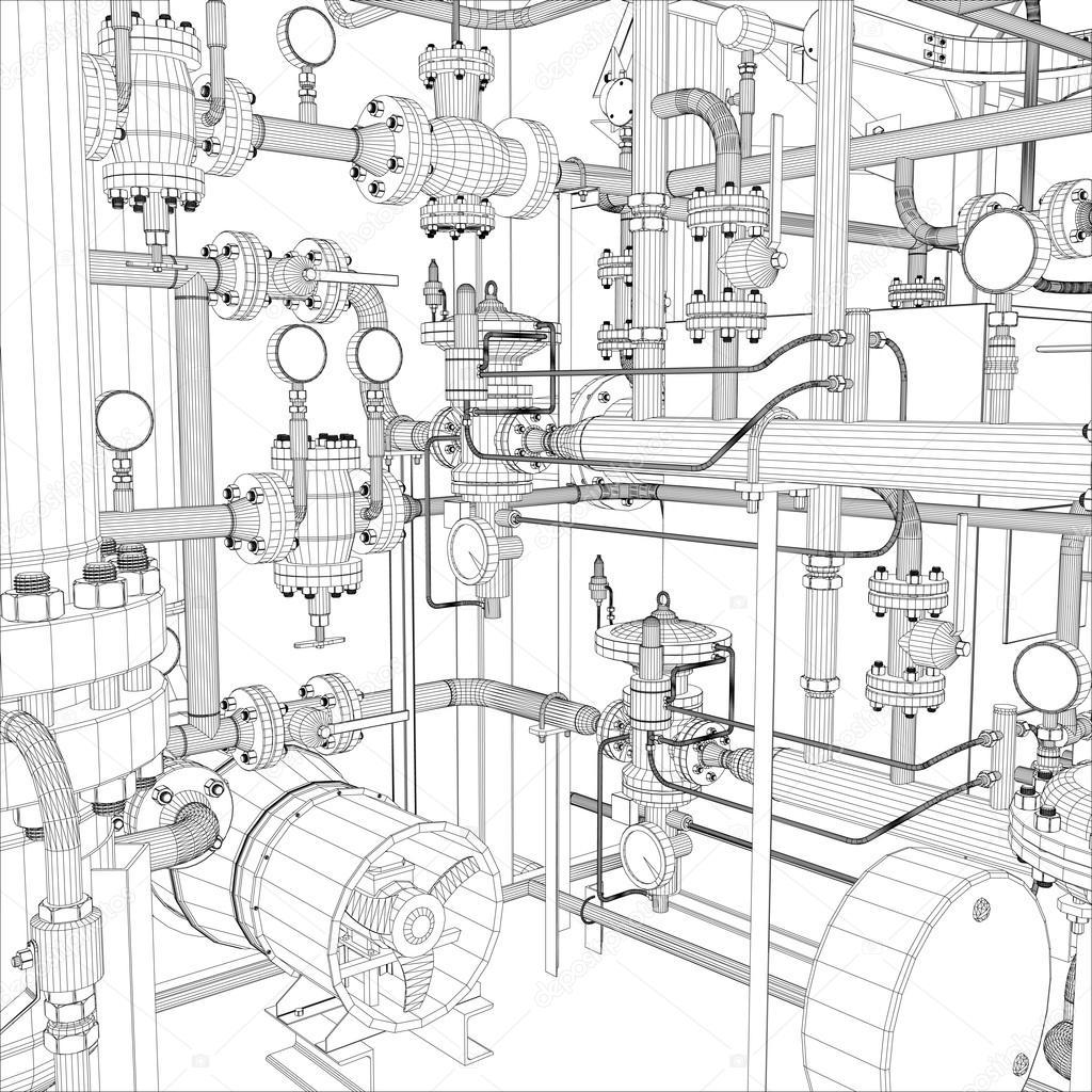 Wire-frame industrial equipment. EPS 10 vector format stock vector