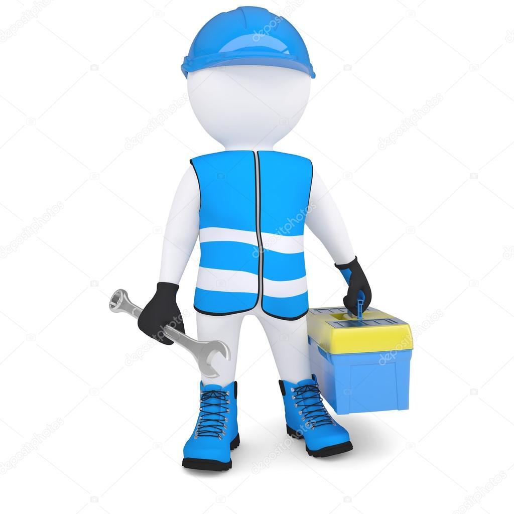 Hombre 3d con la caja de herramienta y llave fotos de - Caja de herramientas precio ...
