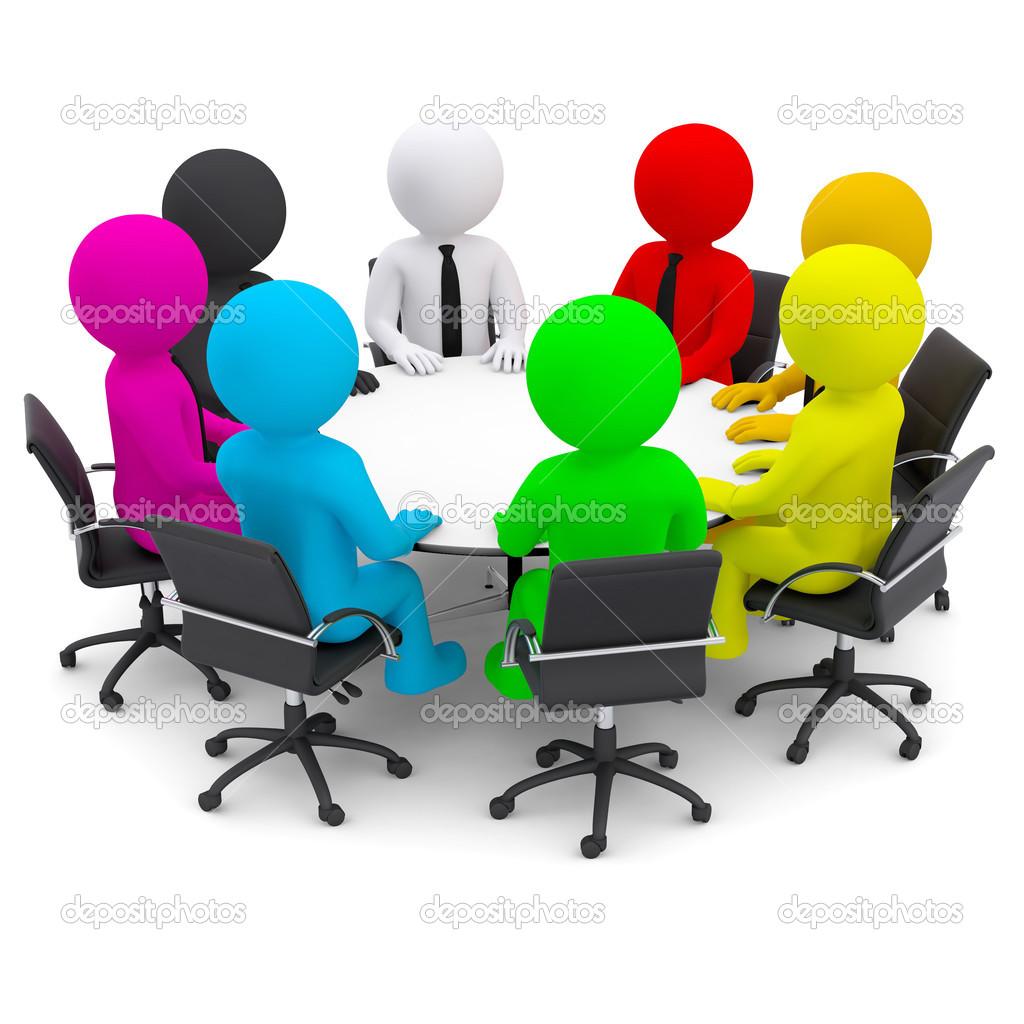 Im genes personas sentadas en una mesa multicolor - Que es mesa redonda ...