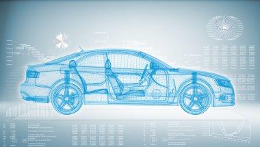 Hi-tech car on a blue background