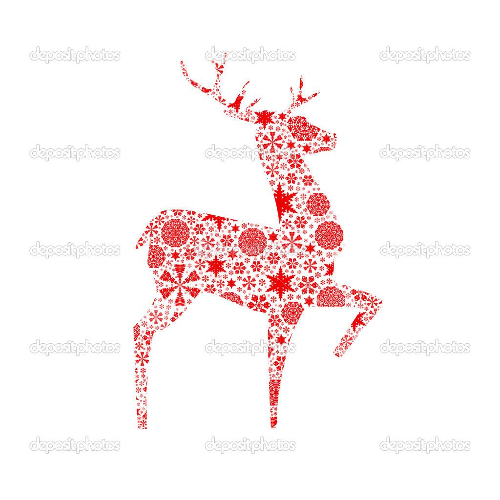 cerf de noel cerf de silhouette. carte de Noël — Photographie cherezoff © #37334497 cerf de noel