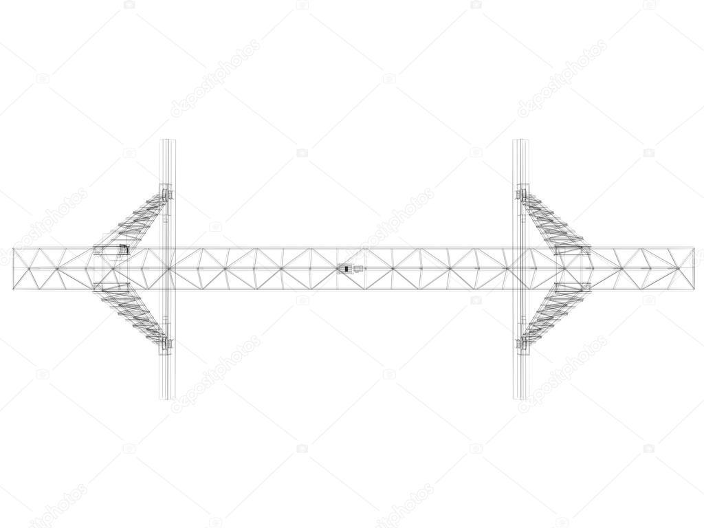 grúa de pórtico. marco de alambre — Foto de stock © cherezoff #37915683