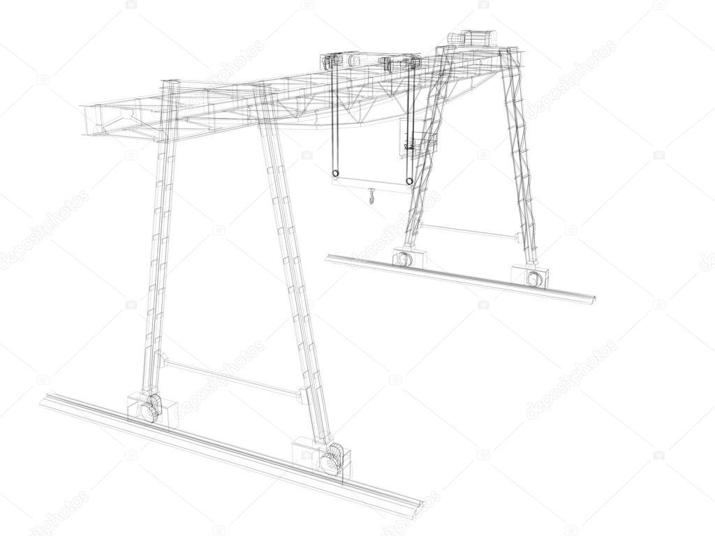 grúa de pórtico. marco de alambre — Foto de stock © cherezoff #37915701