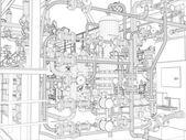 Industrieanlagen. Drahtrahmenrenderer