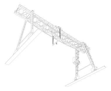 Gantry crane. Wire-frame. Vector