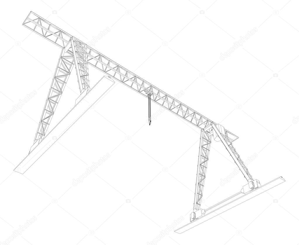 grúa de pórtico. marco de alambre. Vector — Archivo Imágenes ...