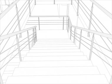 Room. Staircase and railing