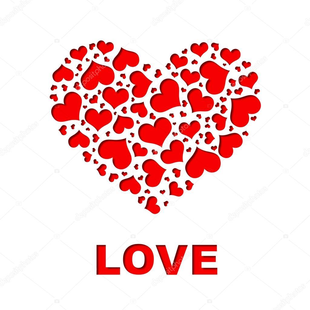 großes Herz, bestehend aus kleinen Herzen — Stockfoto © cherezoff #38802367