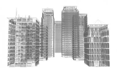 Highly detailed buildings. Wire-frame render