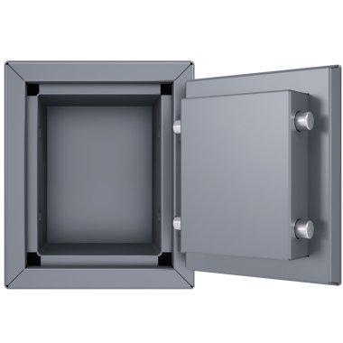 Opened metal safe