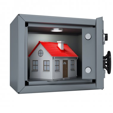 Small house in an open metal safe