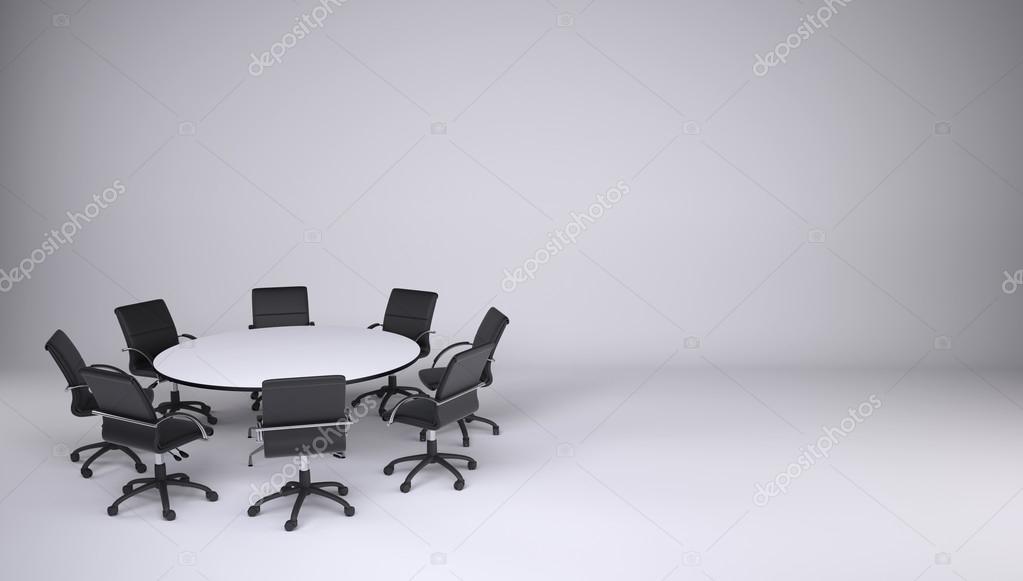 Table Ronde Et Huit Chaises De Bureau Sur Un Fond Gris Concept Cooperation Image Cherezoff