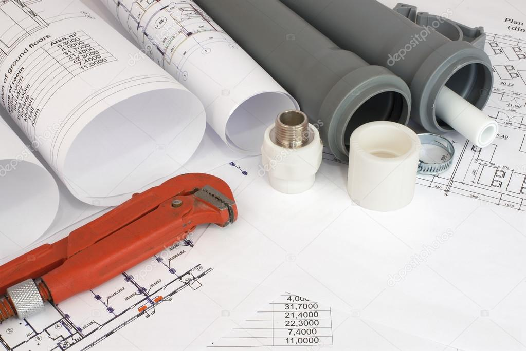 Plumbing tools on the construction drawings