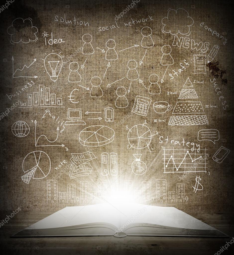 Aufgeschlagenes buch gezeichnet  ein offenes Buch gezeichnet-Skizzen-Geschäft — Stockfoto #44999205