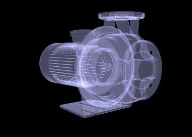 Water pump motor. X-ray render