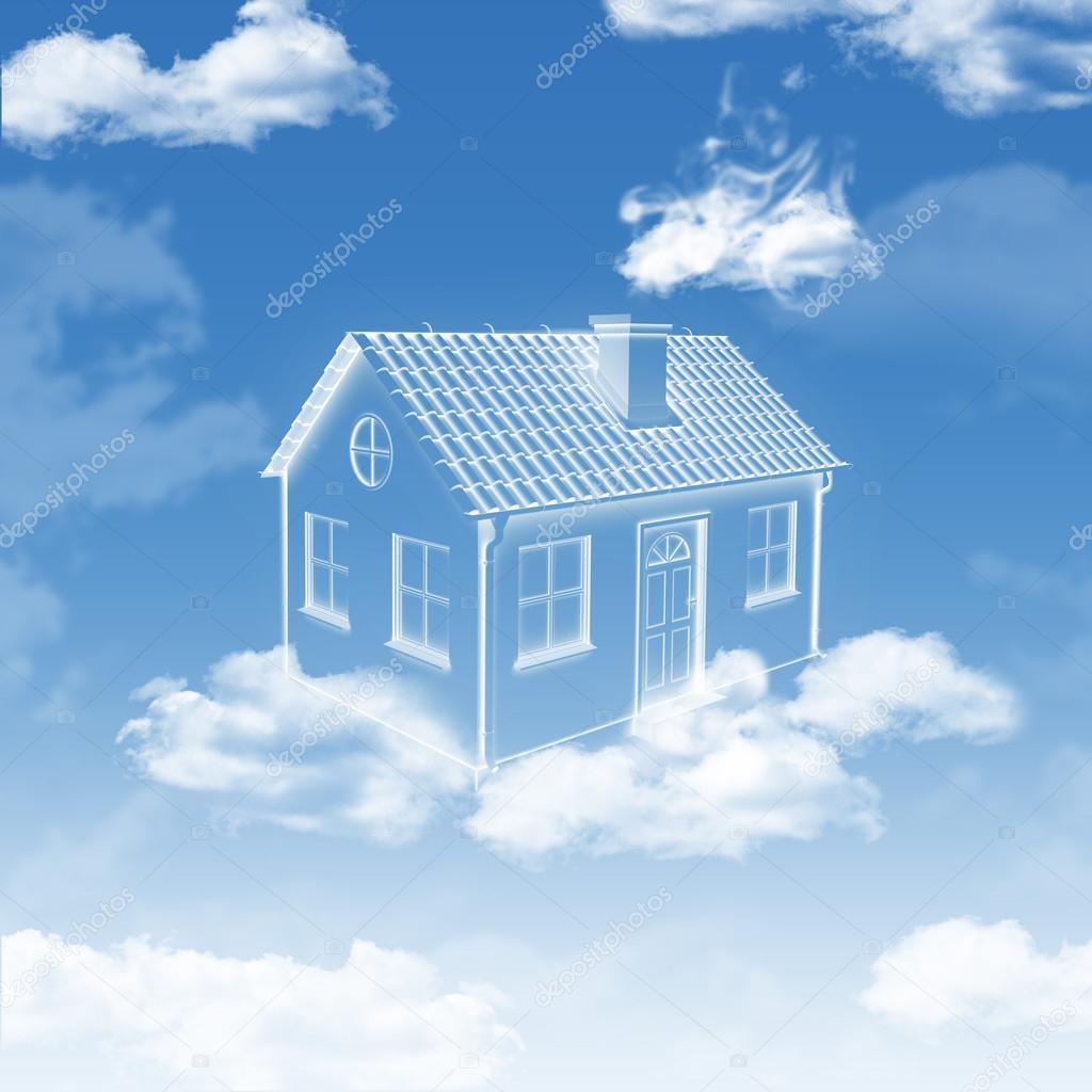 Casa di nuvole nel cielo foto stock cherezoff 45671381 for Piani di casa di 4000 piedi quadrati