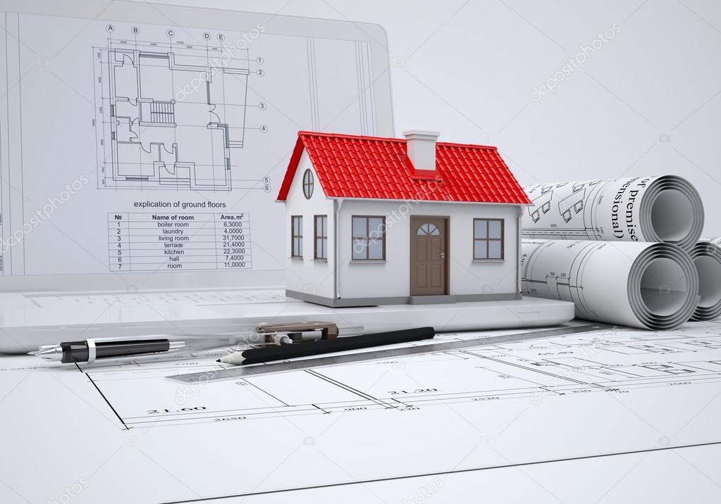 Führt Einen Bildlauf Architekturzeichnungen Und Kleines Haus. Architekt Konzept  U2014 Foto Von Cherezoff