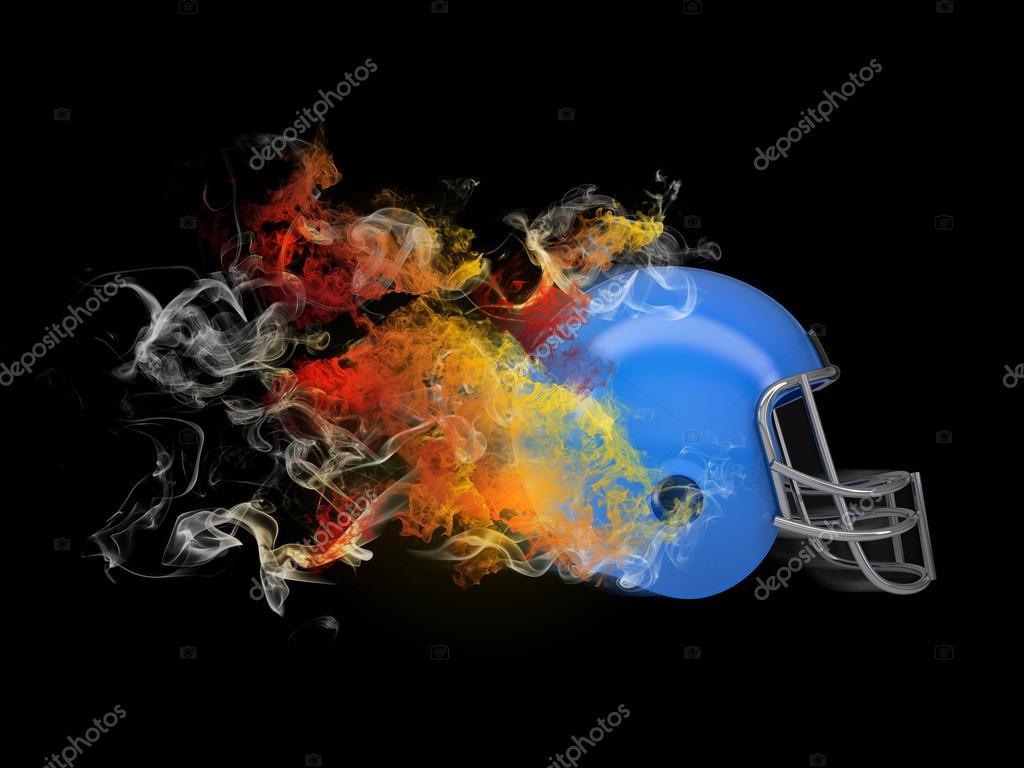 casco de fútbol americano en el humo coloreado — Fotos de Stock ...