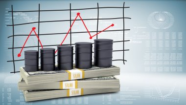 Barrels oil stand on pack of dollars