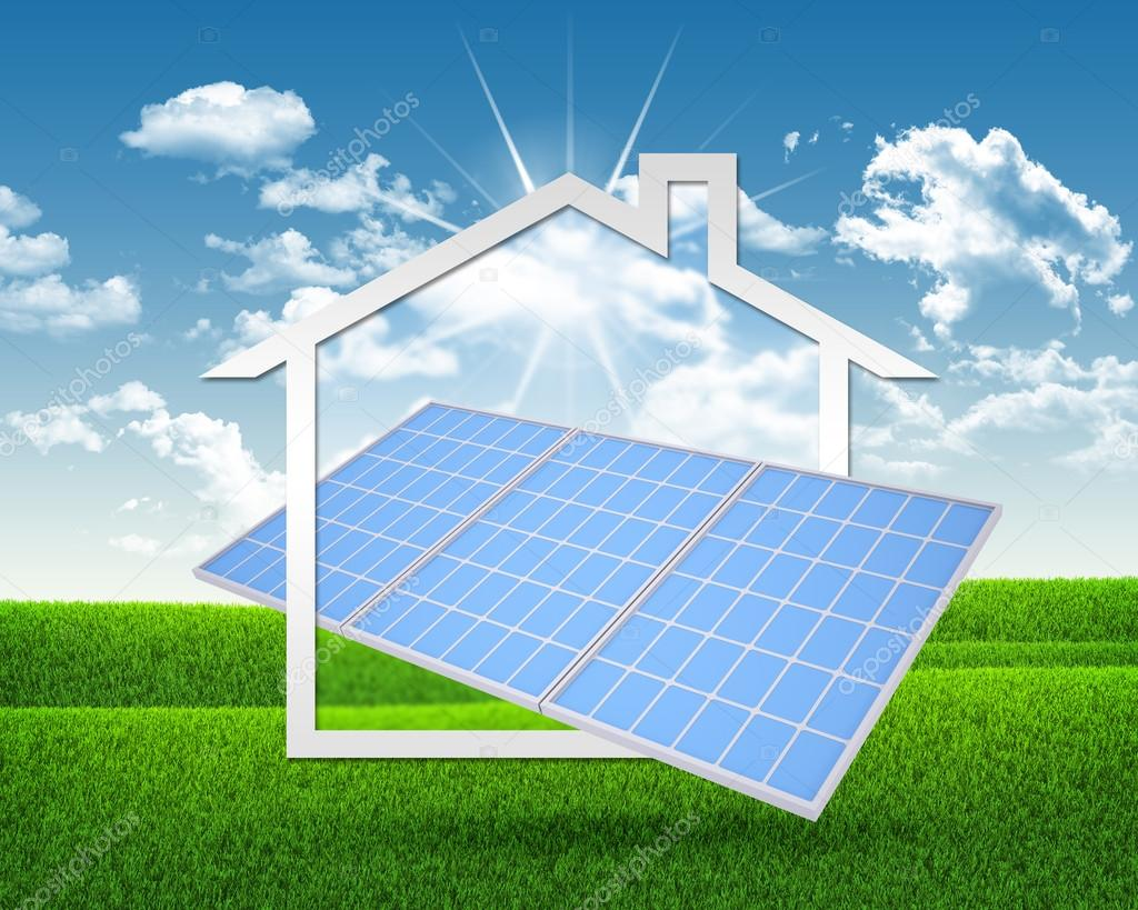 Solar battery and symbol of house