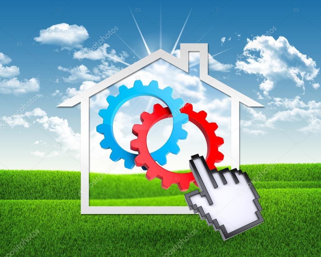House icon with gears and computer hand